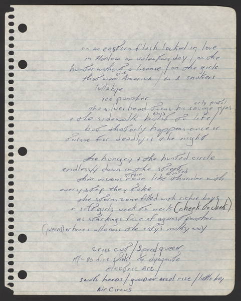 "Bruce Springsteen Handwritten ""Jungleland"" Working Lyrics"