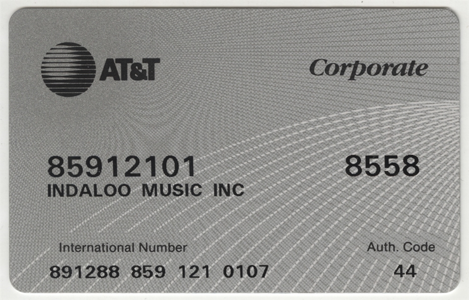 Steven Tyler's Personal Indaloo Music Corporation AT&T Corporate Card