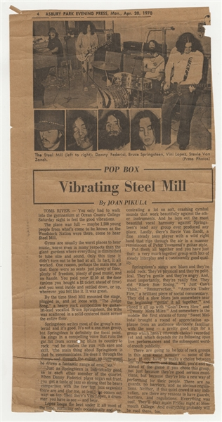 Bruce Springsteens Personal Steel Mill Original 1970 Asbury Park Evening Press Concert Review