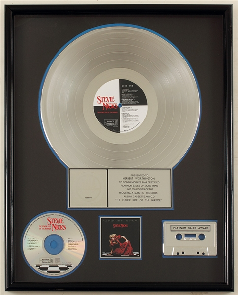 Stevie Nicks The Other Side of The Mirror Original Platinum Album, Cassette and C.D. Award Presented to Herbert Worthington