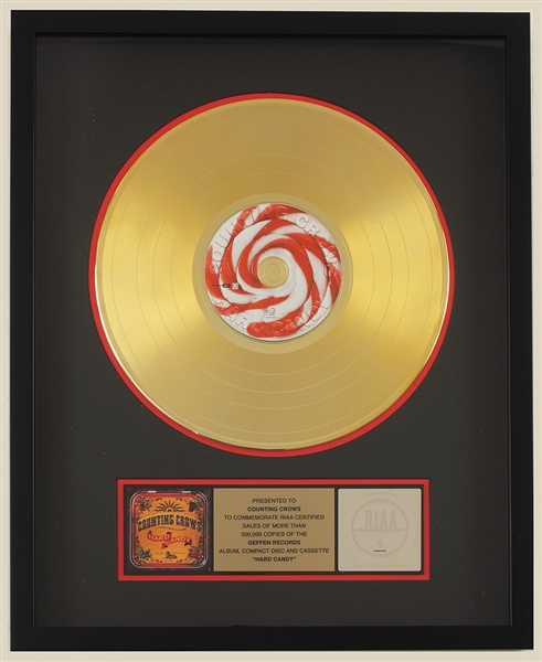 Counting Crows Hard Candy Original Gold Album, C.D. and Cassette Award Presented to the Counting Crows