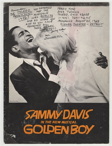 Sammy Davis, Jr.' s Personal Golden Boy Program Inscribed to Him