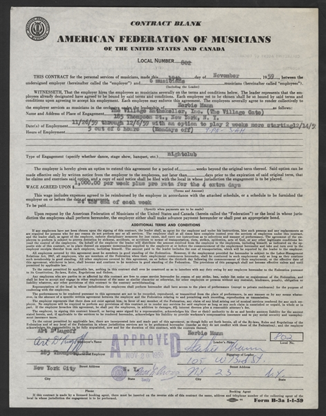 Herbie Mann Signed 1959 Original Village Gate Concert Contract