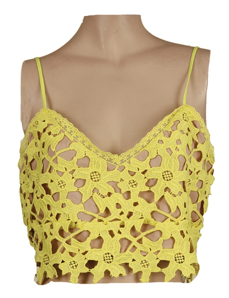 Taylor Swift Owned & Worn Yellow Cut-Out Crop Top