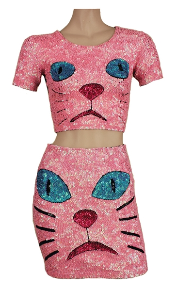 Katy Perry 2014 MTV Europe Music Awards Worn Pink Sequin Cat Top & Skirt