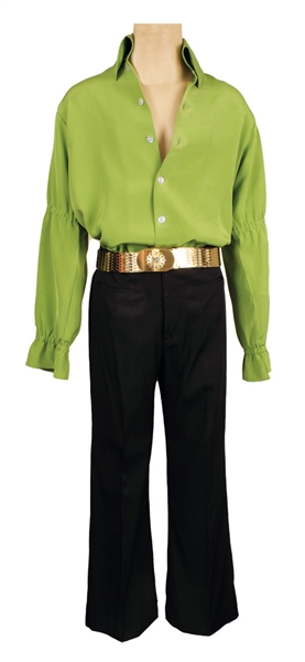 Elvis Presley Owned & Worn IC Costume Company Green Bell-Sleeved Shirt and Black Pants With Gold Belt