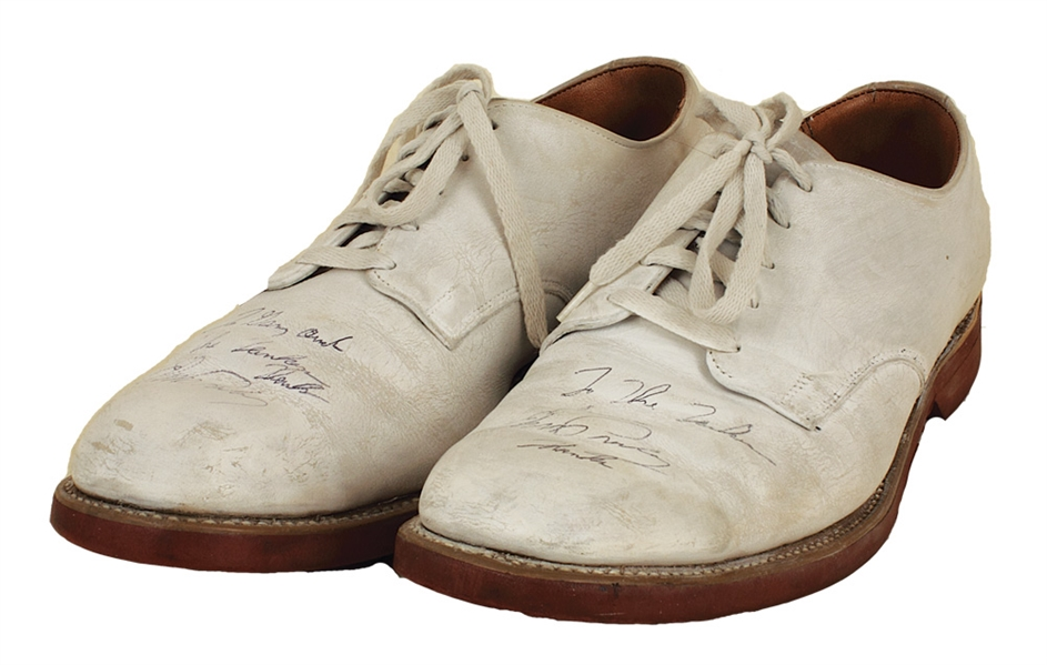 Elvis Presley Stage Worn White Bucks Twice Signed and Inscribed to Gary Pepper and the Tankers Fan Club