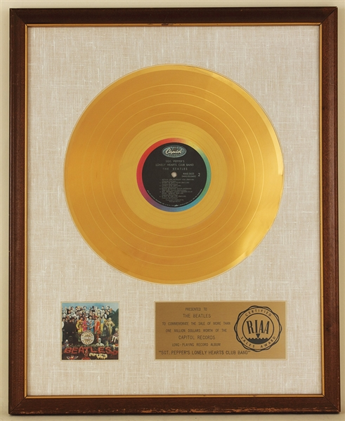 "Beatles ""Sgt. Peppers Lonely Hearts Club Band"" Original RIAA White Matte LP Record Album Award Presented to The Beatles"