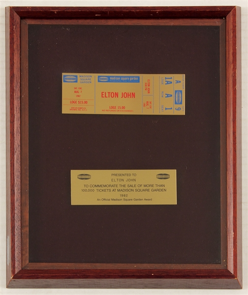 Elton John Original Madison Square Garden Gold Ticket Award Presented to Elton John