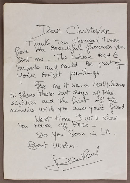 Jean-Paul Gaultier Handwritten & Signed Letter to Madonnas Brother Christopher Ciccone