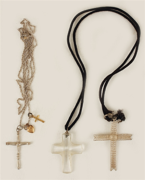 Madonna Owned & Worn Necklaces With Crosses Circa Mid-1980's