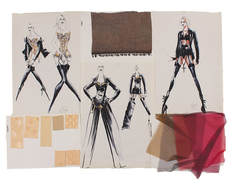 "Madonna ""Blond Ambition Tour"" Original Archive of 32 Jean-Paul Gaultier Hand Drawn Iconic Costume Designs and Swatches"