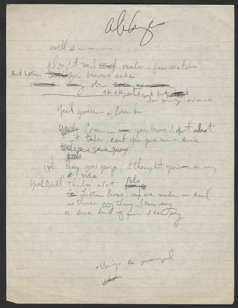 Alice Cooper Handwritten & Signed Give the Kid a Break Working Lyrics