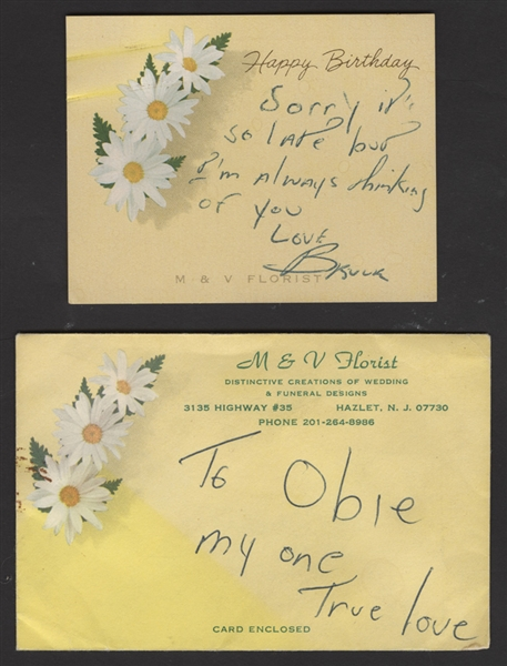 "Bruce Springsteen Signed & Inscribed Birthday Card and Envelope to Obie ""My One True Love"""