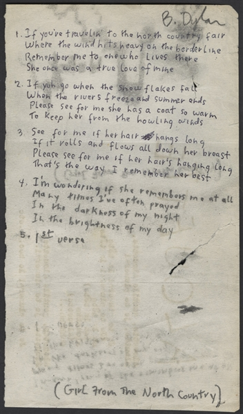 Bob Dylan Handwritten and Signed  Girl From The North Country Working Lyrics With Sketch Circa 1963