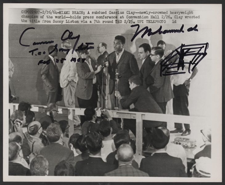 Muhammad Ali/Cassius Clay Signed & Inscribed With Hand Drawing Sonny Liston Fight Original Wire Photograph