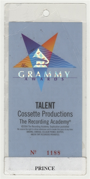 Prince's Personally  Owned & Used  2004 Grammy Awards Talent Laminate