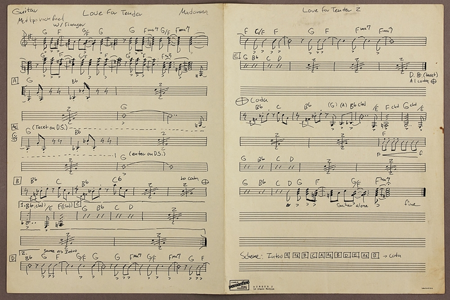 Madonna Signed 1980 Original Love For Tender Musical Score for her Band Emmy