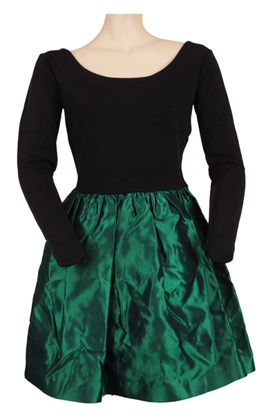 Whitney Houston Owned and Worn Green and Black Dress