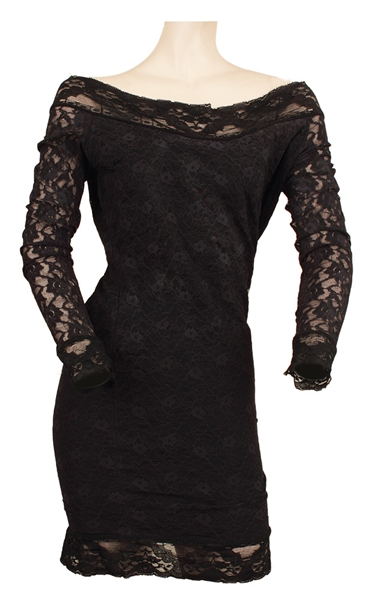 Stevie Nicks Owned and Worn Long Sleeved Black Lace Dress