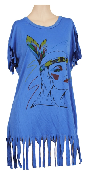 LaToya Jackson Owned and Worn Blue Fringe Top with Picture of Native American Woman