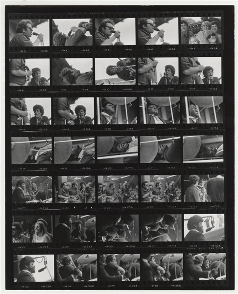 Jimi Hendrix Band of Gypsys Billy Cox Original Jim Marshall Stamped Monterey Pop Festival Contact Sheet