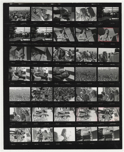 Crosby, Stills and Nash Original Jim Marshall Stamped Monterey Pop Festival Contact Sheet