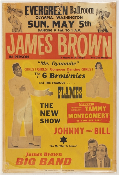 James Brown Original 1961 Olympia Washington Concert Poster