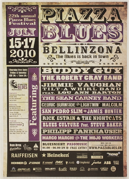 Buddy Guy Original 2010 Piazza Blues Festival Concert Poster