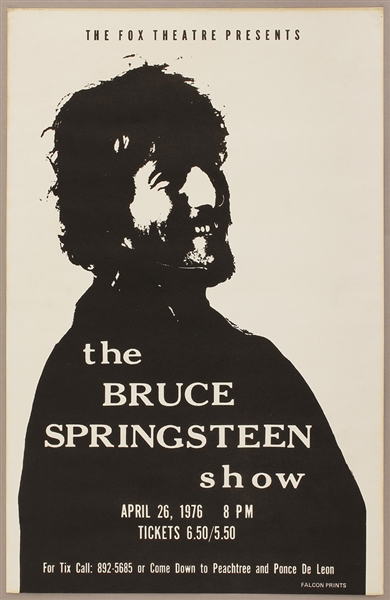 Bruce Springsteen Original 1976 Fox Theatre Concert Poster