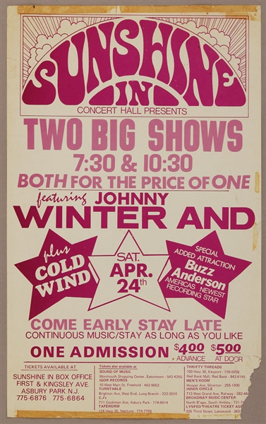 Johnny Winter Original Sunshine In  Asbury Park Concert Poster