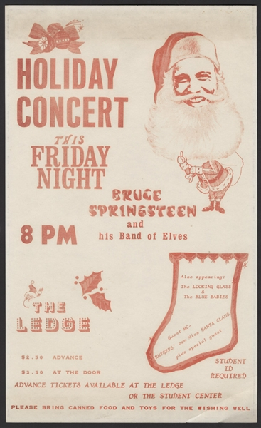 Bruce Springsteen Original Early Concert Handbill for The Ledge at Rutgers, Circa 1971