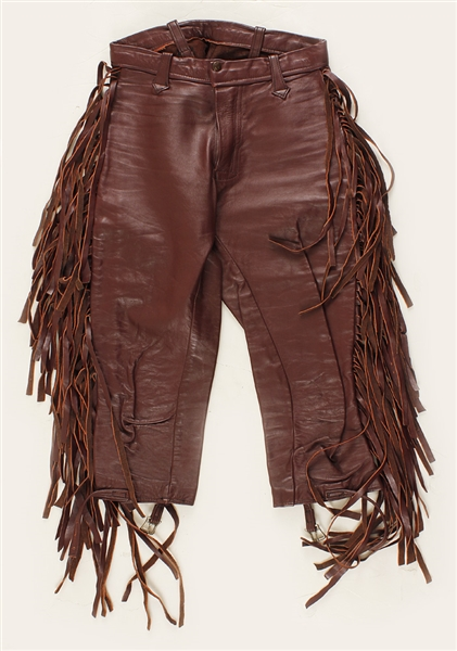 Sly Stone Stage Worn Wine Leather Fringed Chaps