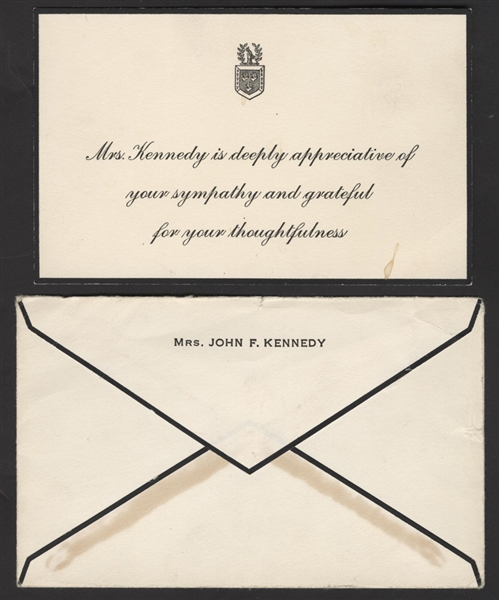 Jackie Kennedy 1963 Original John F. Kennedy Assassination Condolence Thank You Card and Envelope