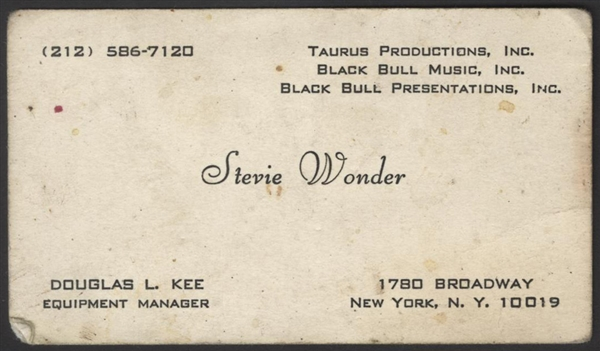 Stevie Wonder's Personal Business Card