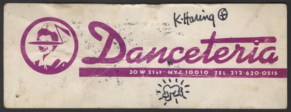 Keith Haring Signed with Hand Drawing Original Danceteria Free Drink Ticket