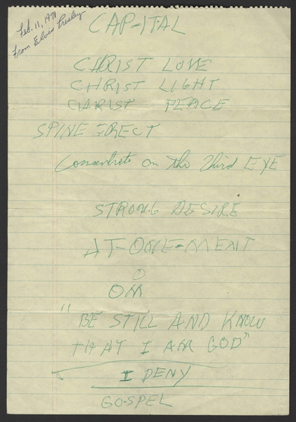 Elvis Presley Handwritten Spiritual Notes to Himself