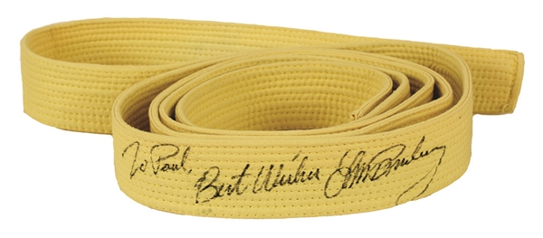 Elvis Presley Signed & Inscribed Yellow Karate Belt