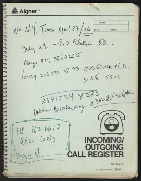 Sammy Davis, Jr.'s Handwritten Personal Incoming/Outgoing Call Register Book