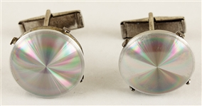 Elvis Presley Owned & Worn Silver Disk Cufflinks
