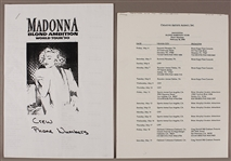 Madonnas Blonde Ambition Tour Original Itinerary and Crew Contact List