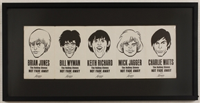 "Rolling Stones 1964 Original ""Not Fade Away"" Fold-Out Promotional Card"