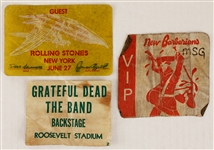 Grateful Dead/Rolling Stones/ New Barbarians Vintage Backstage Passes