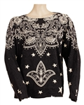 Stevie Nicks Owned & Worn Black Sweater with White Stars and Design