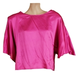 Stevie Nicks Owned & Worn Pink Satin Long-Sleeved Shirt
