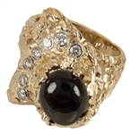 Elvis Presley Stage Worn Diamond & Black Star Sapphire 14kt Gold Nugget Ring