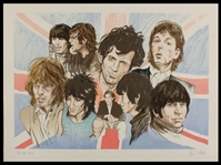 "Rolling Stones Ron Wood Signed ""Decades 60s"" Limited Edition Original Lithograph"