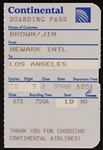 Jim Brown Original Continental Airlines Boarding Pass