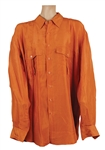 Michael Jackson Owned & Worn Orange Long-Sleeved Button Down Shirt