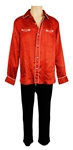 Michael Jackson Owned & Worn Red Satin Pajama Top and Black Velvet Pants